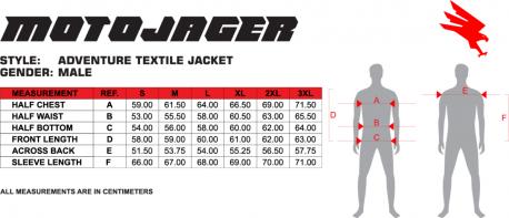 Adventure Jacket Size Chart