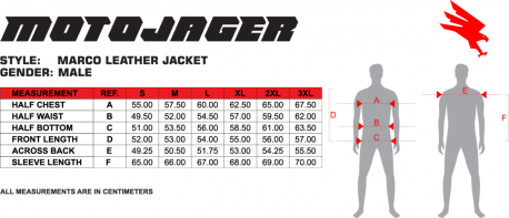 Marco Men's Jacket Size Chart